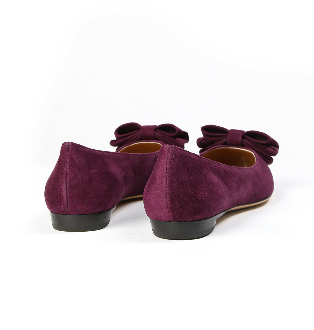 NIB NEW Salvatore Salvatore Salvatore Ferragamo Rubia Black or purple Suede Ballerina Flats 10 M 96f6ae