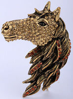 Horse Pendant Pin Brooch Animal Bling Jewelry Gifts For Women Ba17 Ring Gold