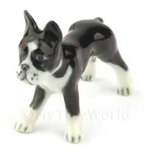Puppenhaus Miniatur Keramik Schwarz Und Weißer Boxer Hund Ebay
