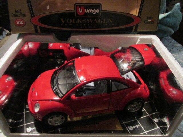 V V V W New Beetle Rosso 1998 98 Volkswagon Dettagliato Rare Unico Burago Italia 64262c