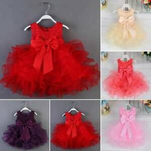0-18M Newborn Baby Toddler Girl Flower Princess Dress Wedding Party Tutu Dresses