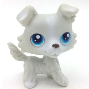 Littlest Pet Ship Collie Dog No.363 Grey White Blue Eyes LPS Vintage