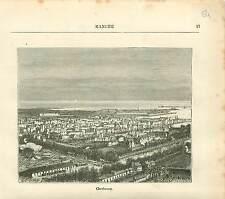 Cherbourg La Manche Normandie FRANCE GRAVURE ANTIQUE PRINT 1882