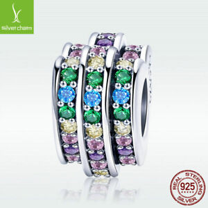 Rainbow-Heart-S925-Sterling-Silver-Charm-Colorful-CZ-Bead-For-Bracelet-Necklace