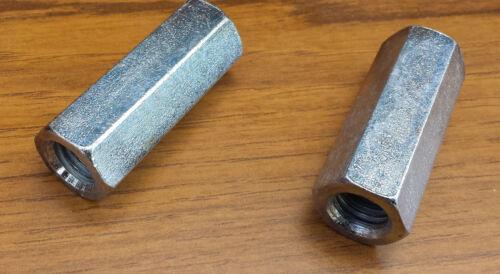 M10 HEX FULLY THREADED Steel STUD CONNECTOR COUPLER Joiner Deep Nut ROD BAR