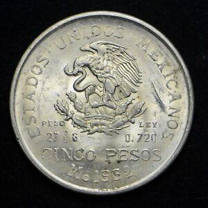 1952-Mexico-5-Pesos-720-Silver-Coin-AU-bb5894
