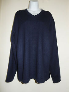 Herren-Hugo-Boss-100-Kaschmir-dunkelblau-grau-Verkleidung-lange-Armel-V-Ausschnitt-Pullover-M-L