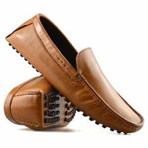 Mens-Leather-Slip-On-Casual-Smart-Loafers-Mocassin-Designer-Driving-Shoes-Size