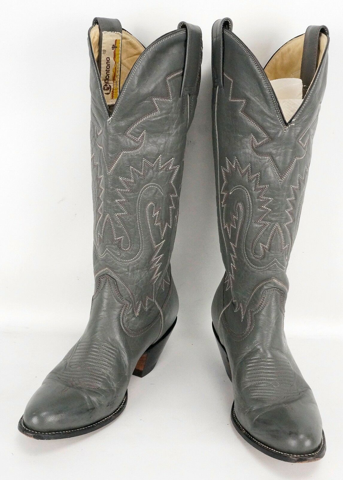 Vintage Womens Montana Gray Leather Cowboy Boots 5.5 D Mexico