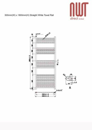 blanc droite Rail serviette chauffé 3760 BTU radiateur chaud x 1 800 mm w h 600mm