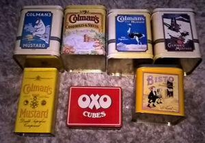 LARGE COLMANS MUSTARD TINS & OXO TIN