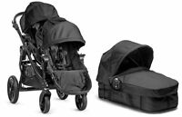 Baby Jogger City Select Twin Double Stroller Black With Second Seat And Bassinet