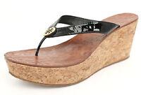 Tory Burch 'thora' Black Patent Cork Wedge Logo Sandal Sz 9.5 M