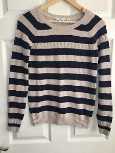 Fat Face Cotton Blend Navy/ Oatmeal Stripe Jumper Size S