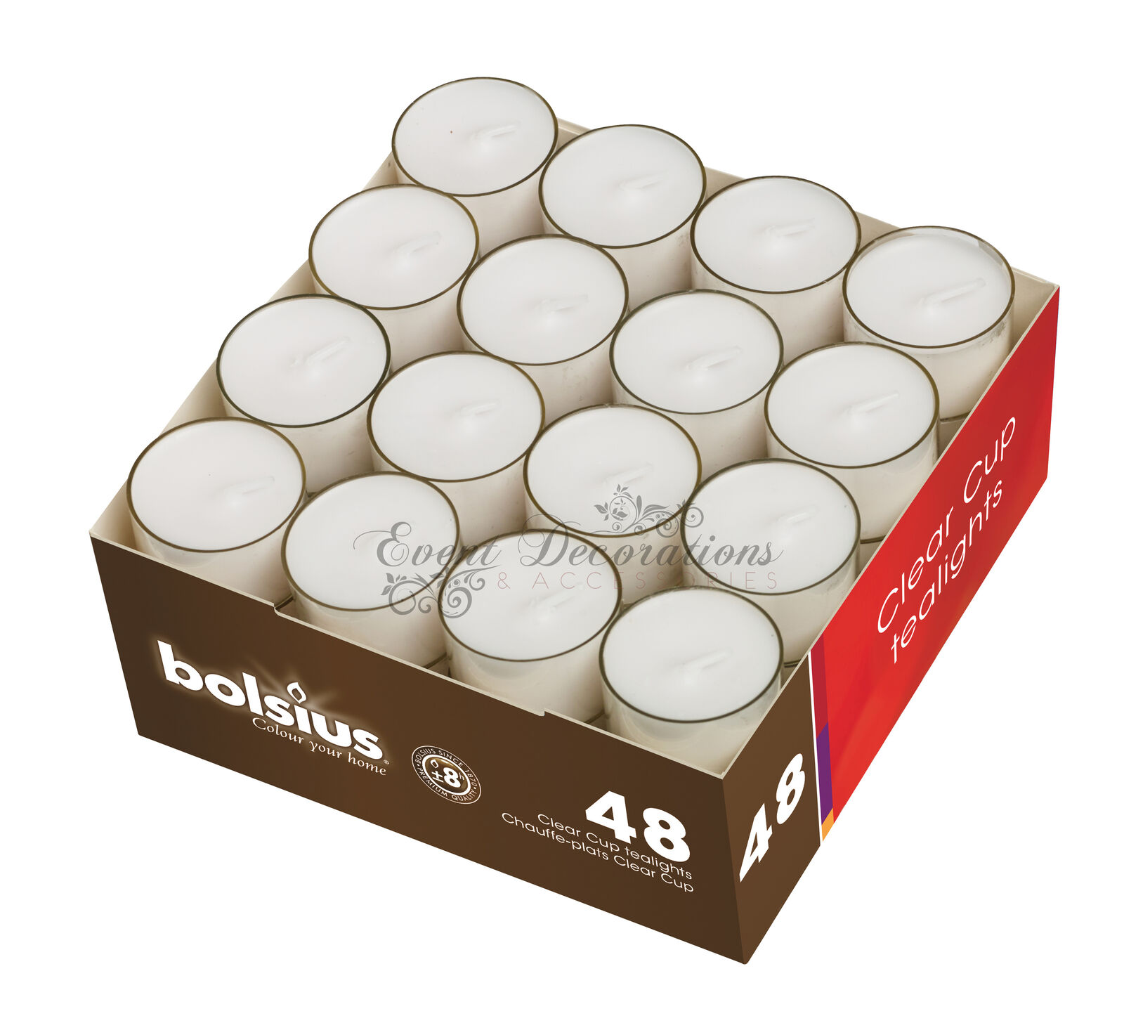 BOLSIUS 8 HOUR CLEAR CUP TEALIGHTS - BOX OF 48 - PERFECT FOR EVENTS & WEDDINGS