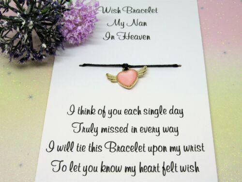 My Nan In Heaven Wish Bracelet Gift Pink Ename Charm Anklet Remembrance Nanny
