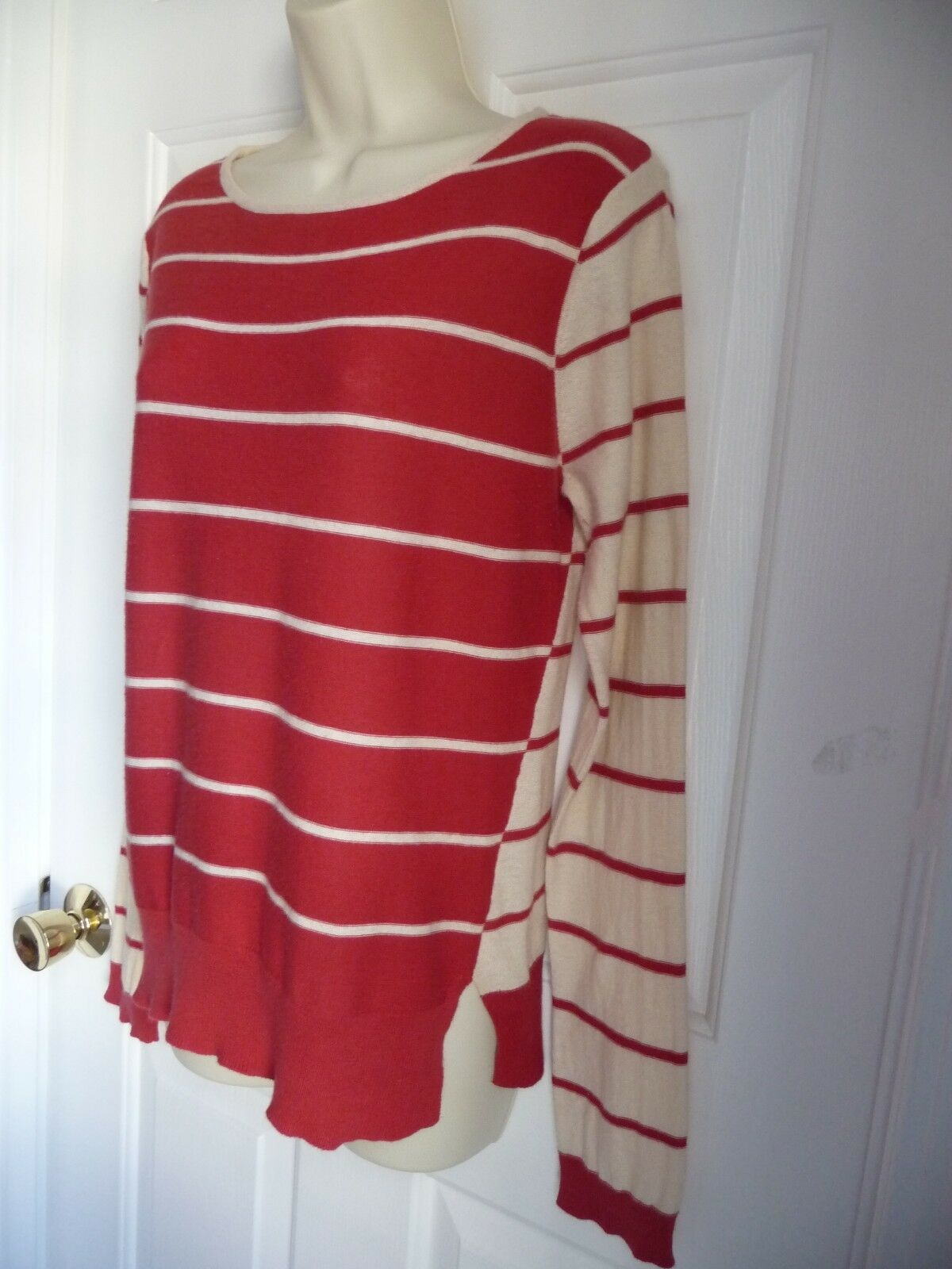 Sparrow Anthropologie L Sweater Reversed Stripy Pattern RED WHITE Left Side Slit