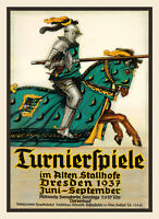 Jousting Sport Horse Knight 1937 Germany German Vintage Poster Repro Free S/h