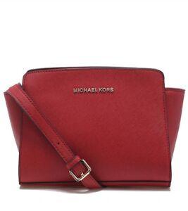 5d609086d027 NEW Michael Kors Selma Mini Leather Crossbody Bag, Maroon Red =Ebay ...