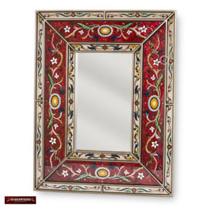 Hand Painted Glass Wood Rectangular Mirrors Arts Crafts Large Red
