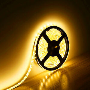 5M 16.4Ft 5050 SMD Flexible Waterproof 300 LED Strip Light Yellow DC12V