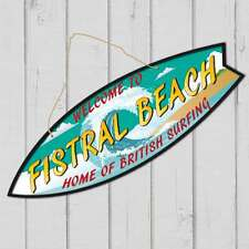 Surfboard shaped sign, FISTRAL BEACH SIGN, CORNWALL Beach Surfing TIKI Sign