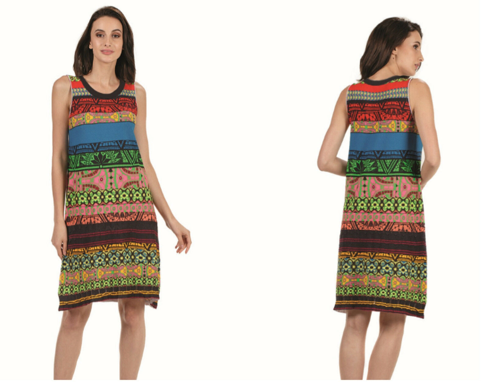 KOOI knitwear Stretch Print-Kleid dress multicolor bunt DC Iv-KO 18011