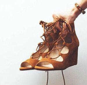 9a0394ce55a NWT ZARA LACE UP HIGH HEEL SUEDE LEATHER WRAP WEDGES SANDALS BROWN ...