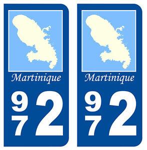 Automobilia 972 Ile Martinique Departement Immatriculation 2 X Autocollants Sticker Auto