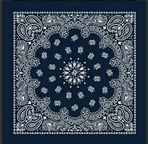 Western Paisley Bandana Navy Blue 100 /% cotton Made in USA