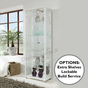 Image Is Loading HOME Double White Glass Display Cabinet Glass Shelves