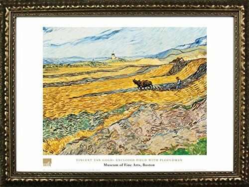 FRAMED Enclosed Field With Ploughman by Vincent Van Gogh 24x32 Museum Art Print