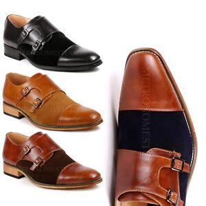 2aade662f3e12 Two Tone Men s Cap Toe Double Monk Strap Oxford Classic Dress Shoes ...