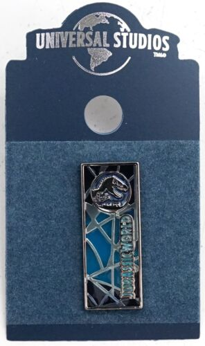 New Universal Studios Jurassic World Blue Stained Glass Logo Pin