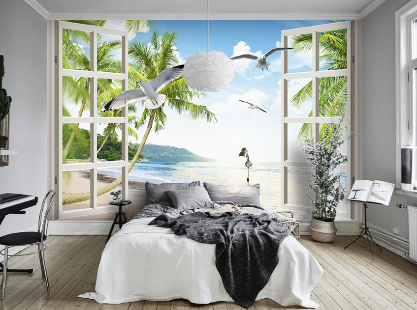 3D Weiß Clouds Seagulls 109 Paper Wall Print Wall Decal Wall Deco Indoor Murals