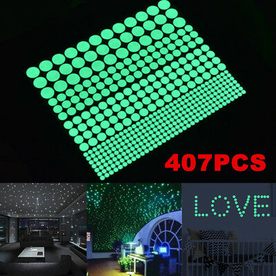 407Pcs Luminous Wall Stickers Decal Glow In The Dark Star Decor for Kid Room