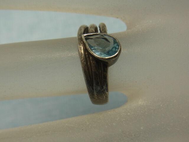 925er silverring mit Topas Ringgroße 55,5 Ringkopf 9,4x0,8 cm Gewicht 3,71gramm