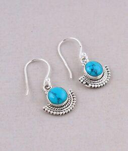 925-Sterling-Silver-Blue-Turquoise-Gemstone-Earrings-Jewelry
