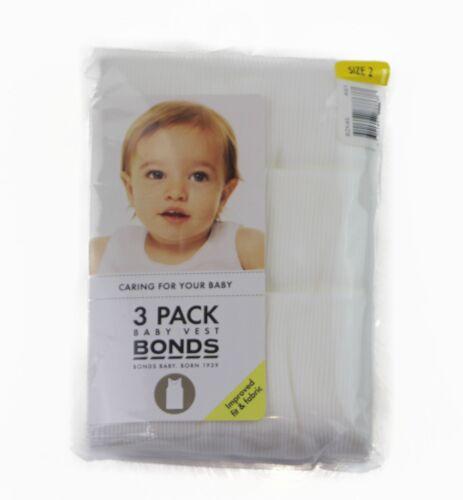 3 PACK BONDS SINGLETS VEST BABY KIDS SINGLET WHITE BLUE PINK BOYS GIRLS SIZE 2