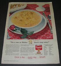 """Print Ad 1955 Campbell's Soup Beef Noodle """"Pin a rose on Mother there's soup"""