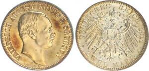 Sajonia 2 Marco 1911 E Friedrich August, Pp , Pulida Placa, Berieben, Patina