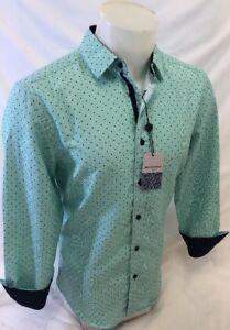 Men-BERTO-ROMANI-Designer-Shirt-LONG-SLEEVE-SLIM-FIT-GREEN-GEOMETRIC-DESIGN-5053