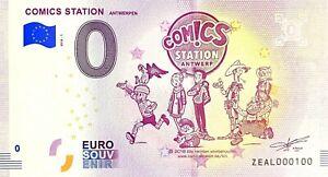 BILLET-0-EURO-COMICS-STATION-ANTWERPEN-LUCKY-LUKE-BELGIQUE-2018-NUMERO-100