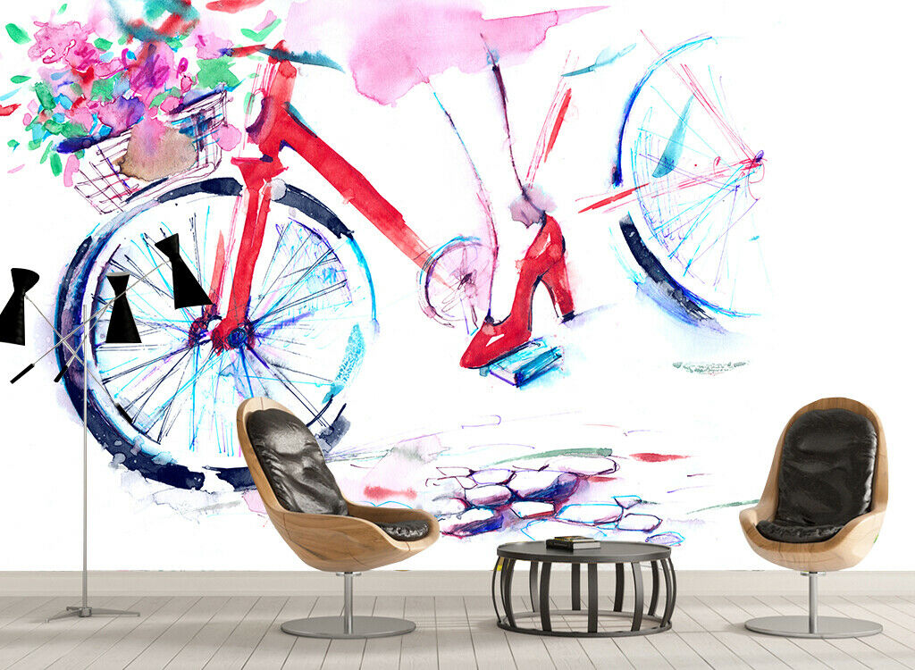 3D Bicycle Painting I094 Wallpaper Mural Sefl-adhesive Removable Sticker Wendy
