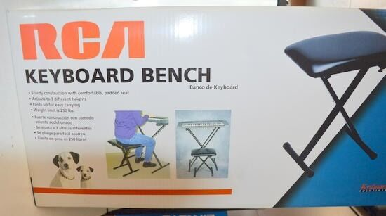 RCA Keyboard Bench - Padded Seat-3 adjustable heights-holds up to 250 lbs.