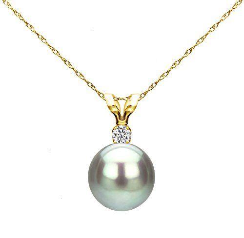 Pearl Pendant 14k Yellow gold 7-8mm Grey Round Freshwater & 1 100ctw Diamond