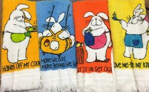 Lot-of-4-Vintage-Gibson-Greeting-Cards-Rabbit-Bunny-Comical-Kitchen-Dish-Towels