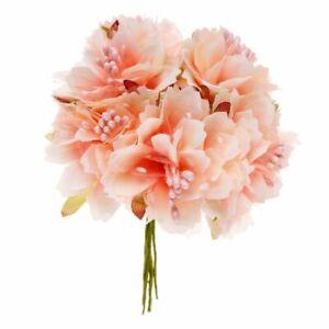 2X-6-Stueck-4cm-kuenstliche-Nelke-Blume-Staubblaetter-Blumenstrauss-Hochzeit-3I