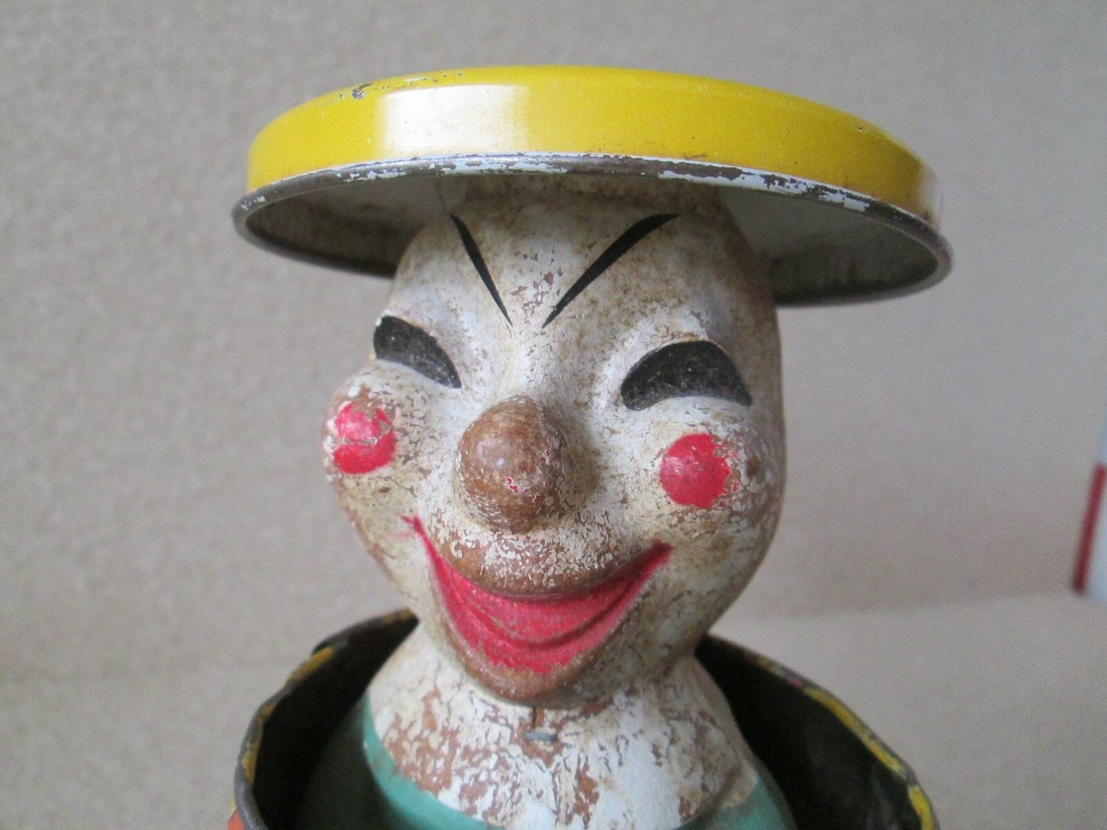 Antiguo Payaso de hojalata Jack en el cuadro puede Pop Up Juguete Tire Magic Perilla educativo Crafts