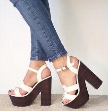 RIVER ISLAND White Leather Extreme Platform Ankle Strap Block Heels Size 6 / 39
